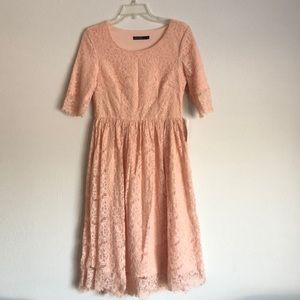 Blush Colored Knee Length Delicate Lace Dress